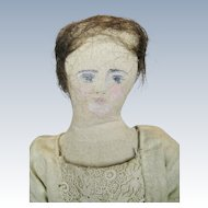 Antique Cloth Primitive Folk Doll with Painted Face
