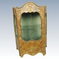 Antique French Fashion Doll Vitrine Miniature Leather Display Cabinet