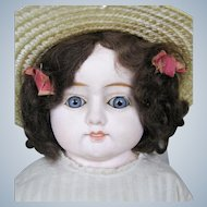 "22"" Antique Papier Mache Head German Doll with Glass Eyes & Antique Dress"
