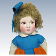 "Adorable 14"" Vintage Raynal Cloth and Felt Doll"