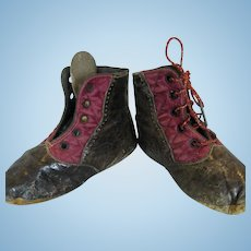 Great Pair of Narrow Brown Leather and Burgundy Silk Antique Doll Boots Shoes