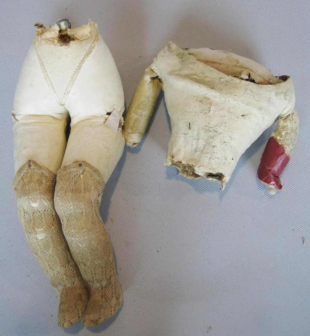 Antique French Fashion Leather Doll Body for Repair or Parts. Click to  expand
