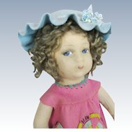 "1930s 14"" Italian Vintage Felt Cloth Character Doll ~ Tousled Curls!"