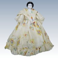 """Antique 6 1/2"""" Doll House Size German China Head Lady Doll"""