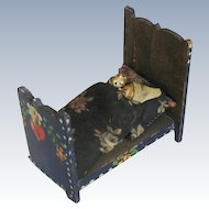 Antique Miniature Painted Wood Bed and Grodnertal Type Dolls Folk Art Primitive Doll House Furniture
