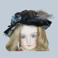 Stunning Antique Doll Bebe Hat with Feathers, Flowers and Ribbon Trim