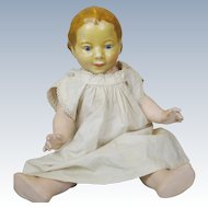 "Unusual 11"" Wax Head Toddler Doll with Compo Body"