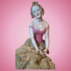Gebruder Heubach Beidermeier Long Armed Porcelain Half Doll ~ Exquisite!