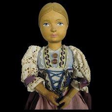 """Vintage 10"""" Carved Linden Wood Swiss Doll"""