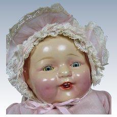 1920s 30s Composition Baby Doll, Original Dress & Bonnet, Dimples