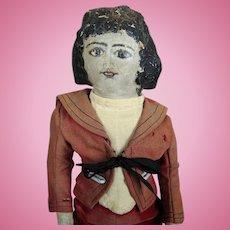 "Antique 15"" Oil Painted Cloth Doll, All Original, Folk Art Primitive"