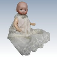 "Antique 8"" German Bisque Head Baby Doll ~ Adorable in her Sweet Gown!"