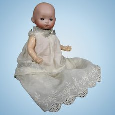 """Antique 8"""" German Bisque Head Baby Doll ~ Adorable in her Sweet Gown!"""