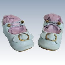 """Wonderful 2 1/4"""" Blue Leather with Buckles Doll Shoes for your Antique Doll or Bebe"""