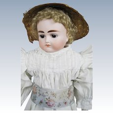 """Antique 18"""" Mystery German Turned Head Closed Mouth Doll"""