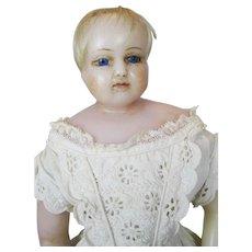 19th C English Poured Wax Montanari or Pierotti Baby Doll ~ Original Clothing