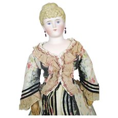 "Antique 20"" German Bisque Parian Fashion Lady Doll"