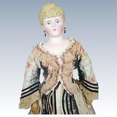 "Antique 20"" German Bisque Parian Fashion Lady Doll"