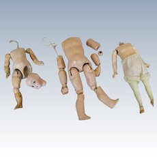 Three Tiny Antique Composition and Wood German Doll Bodies, TLC