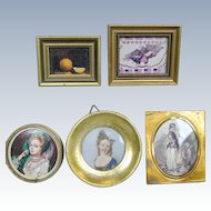 Doll House Miniature Portrait Pictures ~ Five Vintage