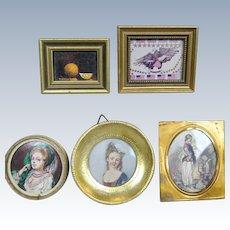Doll House Miniature Portrait Pictures ~ Five Vintage