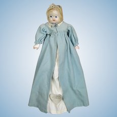 Antique German Wax Taufling Baby Doll, All Original