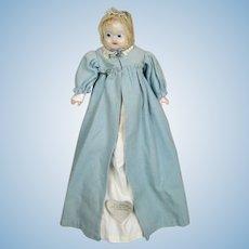 Antique German Wax Taufling Baby Doll, All Original