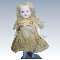 """4"""" Antique German All Bisque Doll House Doll ~ All Original"""