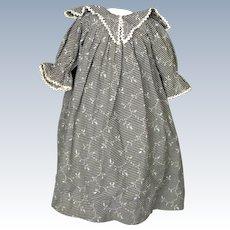 Antique Primitive Printed Cotton Dress for China Head or Papier-Mache Doll