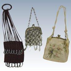 Three Antique Doll Purses ~ Miser, Chain and Silk
