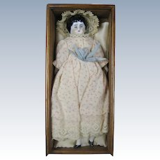 """Antique 6"""" German China Head Doll House Doll In Wood Box"""