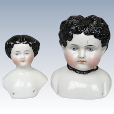 Two Antique German China Doll Heads
