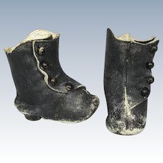 Antique Fashion Doll Leather Boots with Side Buttons