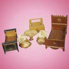 Antique German Doll House Furniture Lot