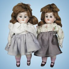 "Pair Antique German All Bisque 5"" Sister Twin Doll House Dolls"