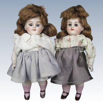 """Pair Antique German All Bisque 5"""" Sister Twin Doll House Dolls"""