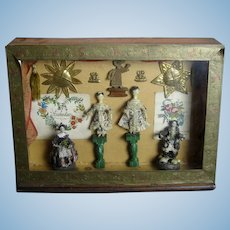 Rare Antique German Grodnertal Wood Tuck Comb and Shell Papermache Dolls Presentation Box