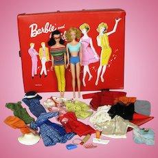Vintage Ponytail Barbie, Midge, Case and Clothes