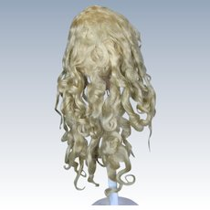 Antique Long Blonde Extended Tail Mohair Wig on Handwerck 109 Doll Head