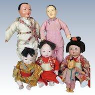 Six Asian Japanese Ichimatsu Gofun Oriental Play  Dolls