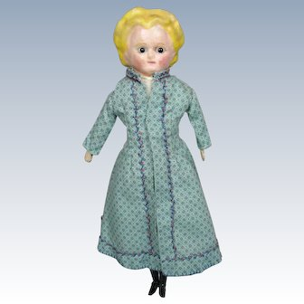 "12.5"" Antique Wax Over Papier-Mache German Doll"