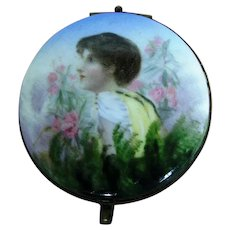 Georgian Antique Bilston Battersea Patch Snuff Box ~ Lady in Garden