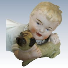 Antique Piano Baby with Pug or Bulldog