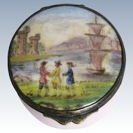18th C Bilston Battersea Enamel Patch Box ~ 3 Men & Mast Ship