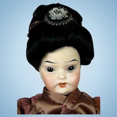 "Antique 12"" Oriental Asian Bisque Head German Doll ~ So Sweet!"