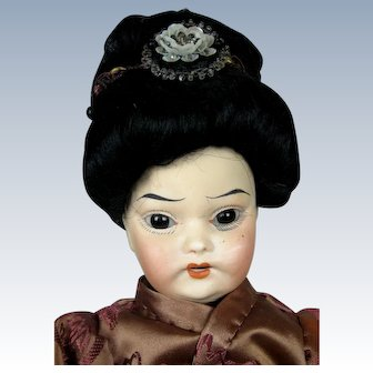 """Antique 12"""" Oriental Asian Bisque Head German Doll"""
