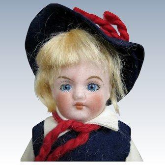 """Antique German 8"""" Bisque Head Ethnic Boy Doll"""