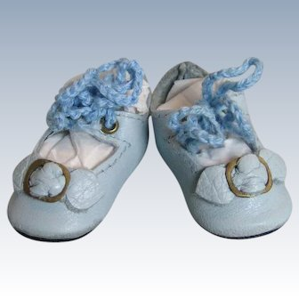 Small Artisan Made Leather Doll Shoes with Toe Buckle