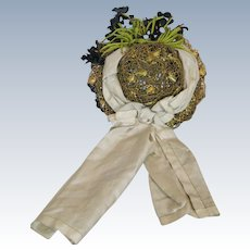 Antique Doll Hat ~ Woven Straw and Flowers