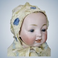Antique Silk Antique Baby Doll Bonnet With Fabric Flowers